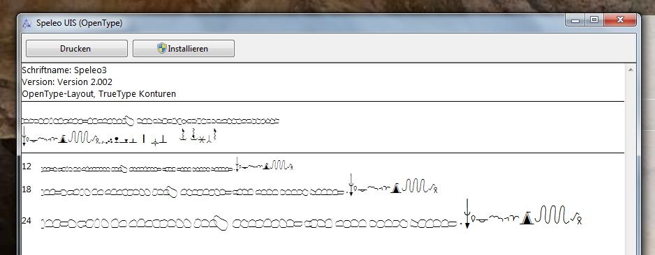Schrift SpeleoUIS.ttf (Speleo3) aus der Inkscape Speleo-Erweiterung